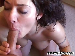 Busty amateur girlfriend home action with cumshot