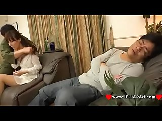 Japanese wife homami takasaka cheating while her husband sleeps in the same room more japanese xxx f