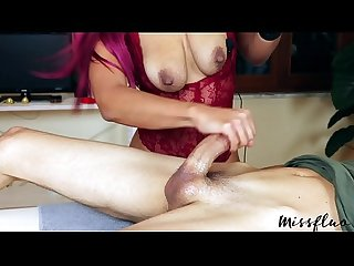 Missfluo drains cock with multiple cum