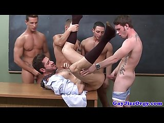 Gay jocks fucking teacher on classroom table
