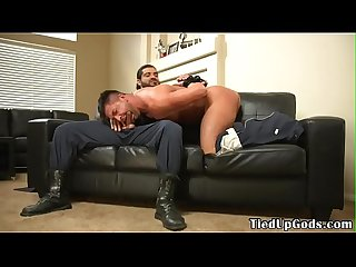 Restrained bdsm stud sucking doms cock