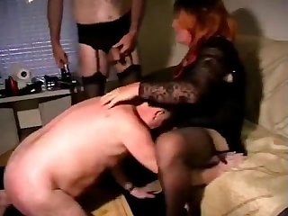 Old man with crossdresser daddy drink piss and cum