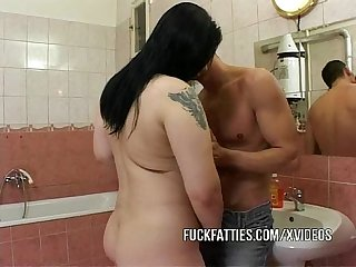 Fat girlfriend fucked inside a bathroom