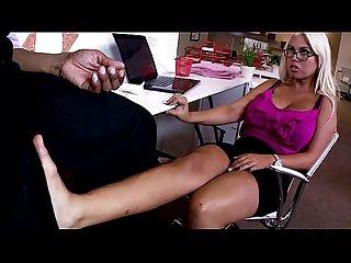 Footfetish babe in specks fucks black cock