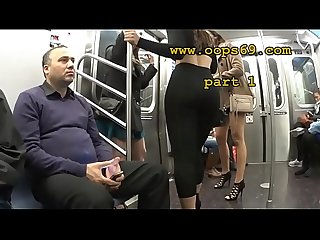 Groping her ass in train
