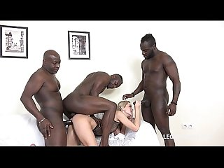 Blonde super model Cristina Tess takes 3 black cocks in the ass like a Goddess