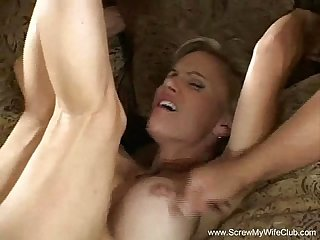 Short haired blonde milf turns swinger