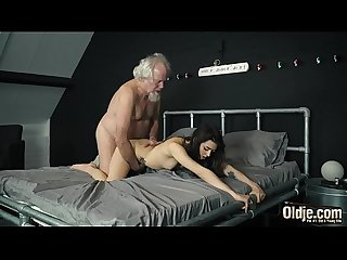 Grandpa fucks A beautiful Young Teen pussy and gives her Oral Creampie