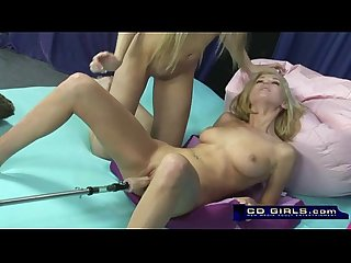 Carlie banks on the orgasmatron sex machine with help from bella starr