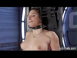 Bound sub machine fucked by Fat dildo