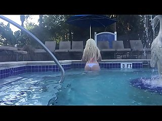 Glamour Babe Kelley Cabbana exposed in HotTub Public Resort