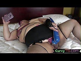 Masturbating chubby bbw babe toys penis