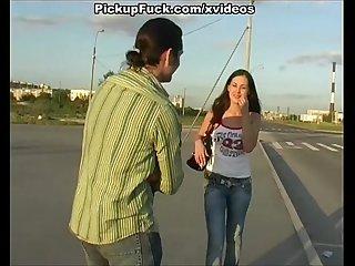 Pick up brunette and fuck public