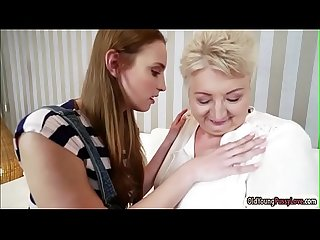Hungarian Lulu Love and granny Astrid lick each others pussy