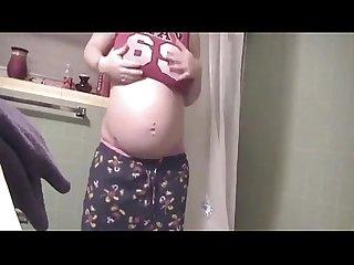 pregnant teen bathroom selfie - PregnantHorny.com