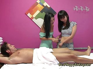 Exotic masseuses spoil their hung customer