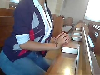 Busty slut masturbation at church