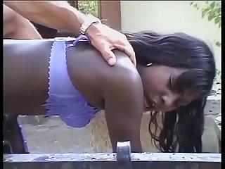 Black slut giving a good blow job!