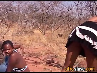 African amateur couple slave in love enjoying picnic sex outdoor
