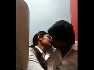 Desi college students kissing rubbing in Internet cafe