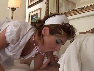 Naughty french maid sucking and riding malone S cock