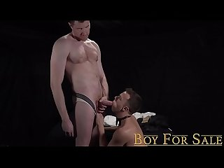 BoyForSale - Young slave cums during bareback after serving master's cock
