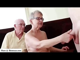 Guy fucks his granny while granpa watches