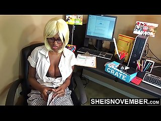 Real Round Large Natural Areolas Down Blouse On Brown Skin Secretary Wearing Red Glasses Reading..