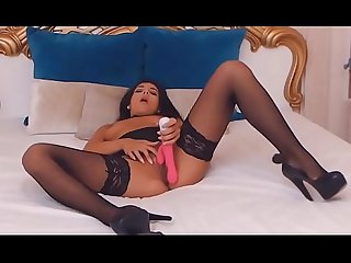 Amazing Latina camgirl wearing black nylon stockings and black skirt do real orgasm with dildo on we