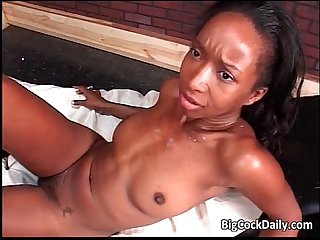 Horny ebony slut gets fucked hard