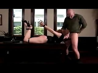 Busty redhead hogtied sucking cock fingered fucked on the desk in the office