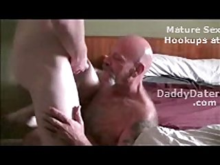 Hairy Tattooed Daddybear Sucking off a Twink and Drinking Cum