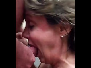 55 year old amateur obviously loves cum