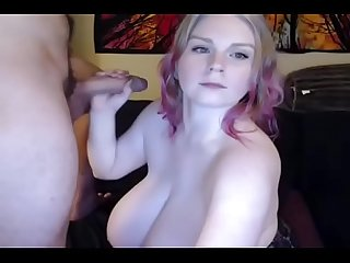 Chubby blonde with massive tits give blowjob