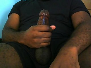 Big straight dick loads of cum on thigh