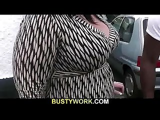 Black guy enjoys her big fat ass and boobs