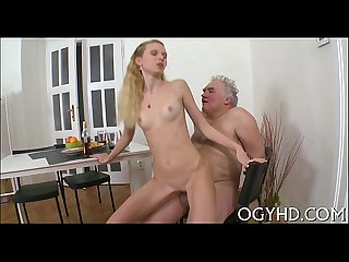 Nasty old dude bonks young face hole