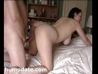Busty milf gets doggystyled and creampied