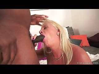 Amazing interracial granny anal fuck
