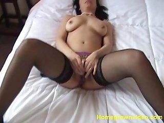 Horny amateur plays