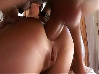 Brunette fucked hard in the ass by two rough guys