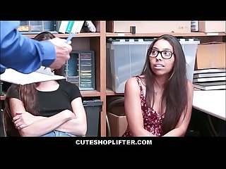 Two hot teen best friend shoplifters arielle faye and jasmine summers threesome with officer for fre