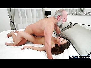 Hungarian anita bellini sucks grandpa before fucked for cum