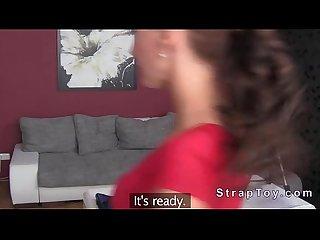 Lesbians having strapon sex on casting
