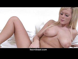 Solointerviews big tits blonde babe jessica cute stripteases masturbates