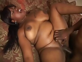 Curvy ebony whore moans with pleasure while she rides black dick