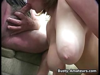 Busty Lisa Titfuck and sucking white cock