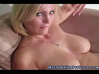 Nylon stockings busty blonde teases you