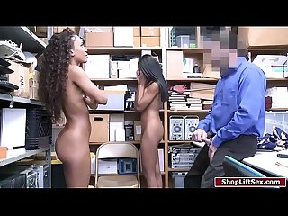 Officer fucks two ebony shoplifters