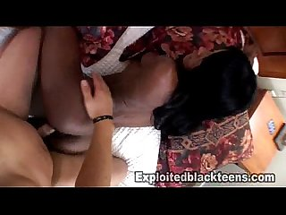 1st Time Black Girl gets Fucked by a white cock in Amateur Teen Porn